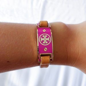 Tory Burch Adorable Pink & Leather Brown Bracelet